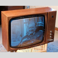 Thorn HMV black and white television picture